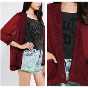 Urban Outfitters Sheer Sleeve Cardigan